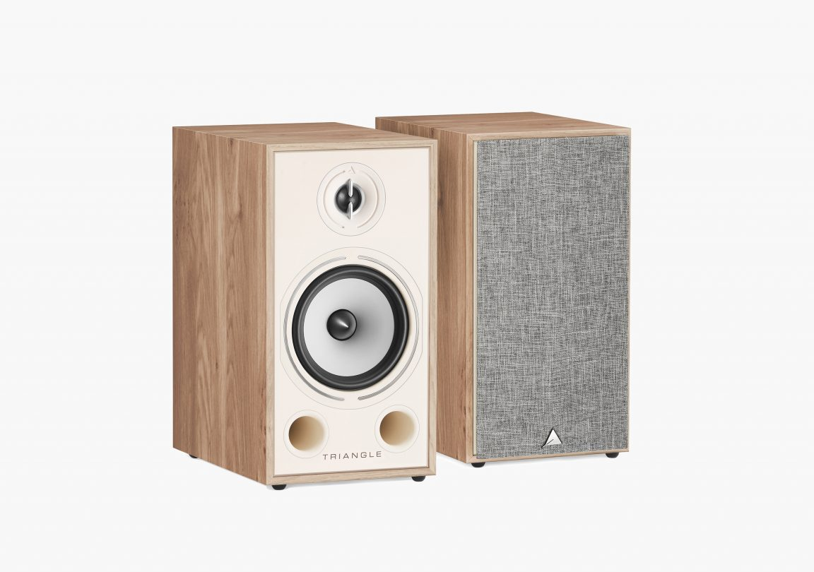Enceinte hifi Bibliothèque triangle Borea BR03 light oak chene clair packshot duo