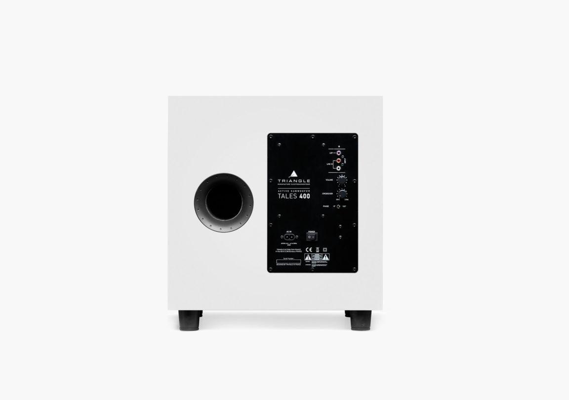 caisson de basses hifi home cinéma triangle tales-400 blanc packshot 01