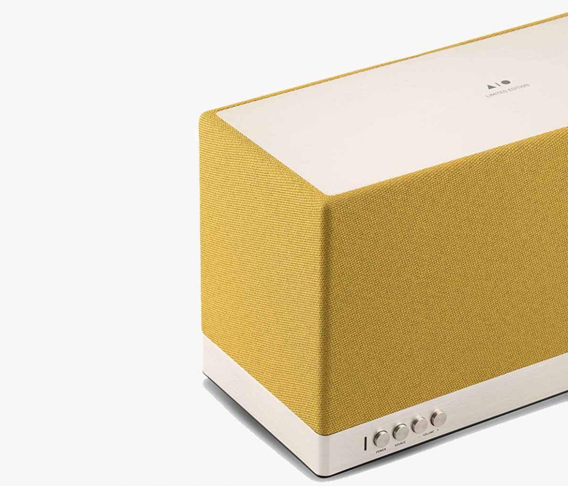 Triangle wireless speaker AIO 3 Limited Edition Mustard Yellow packshot 3/4 EN